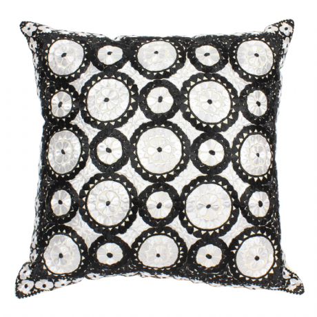 Moroccan Cushion Pillow Silk Square Black Silver Grey Rabat Embroidery 60 x 60 cm 23.6 x 23.6'' CR3